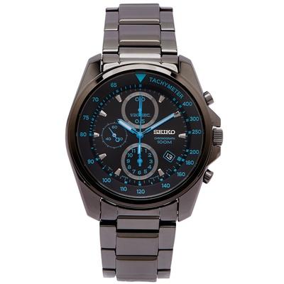 SEIKO 藍色俏皮風黑鋼款計時手錶(SNDD67P1)-黑面x藍色/42mm