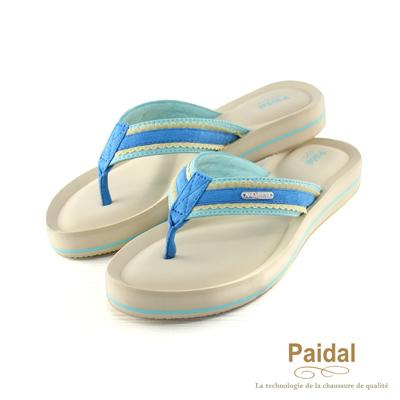 Paidal 甜美布蕾絲耳帶厚底夾腳涼鞋拖鞋-藍
