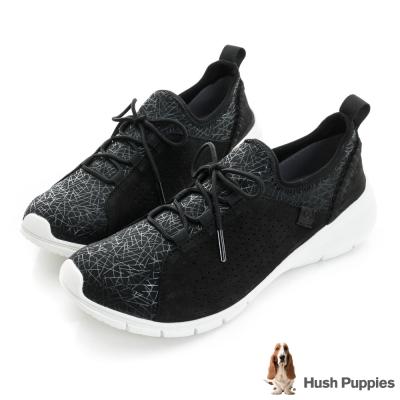 Hush Puppies EIREEN 輕量綁帶式健走鞋-黑色