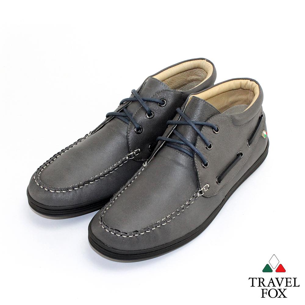 Travel Fox男型男最大半高筒帆船式綁帶休閒鞋低調灰