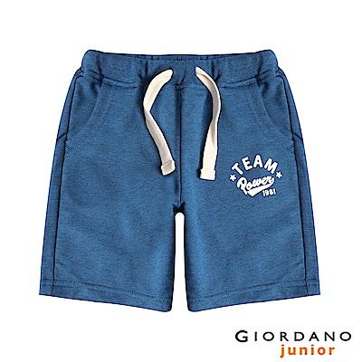 GIORDANO 童裝撞色抽繩印花棉質短褲-05 雪花深藍