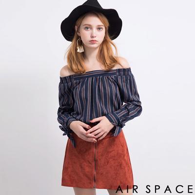 AIR-SPACE-知性荷葉袖直條紋平口上衣-藍