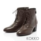 KOKKO-極致品味牛皮綁帶粗跟短靴-醇咖啡