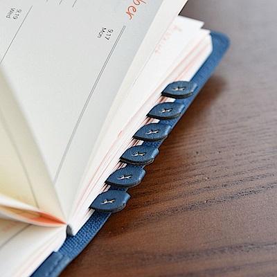 PLEPIC 鮮葉造型皮革標籤貼-海軍藍