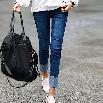 正韓 貓抓痕反摺拼色窄管牛仔褲 (藍色)-N.C21