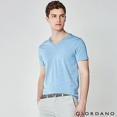 GIORDANO 男裝棉質V領素色短袖T恤-45 雪花銀湖藍