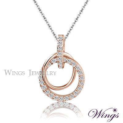 Wings 燦動迴旋 耀眼方晶鋯石項鍊 玫瑰金款
