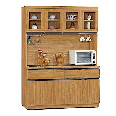 品家居 蜜莉5.1尺柚木紋玻璃餐櫃組合-151.8x40.6x197.8cm免組
