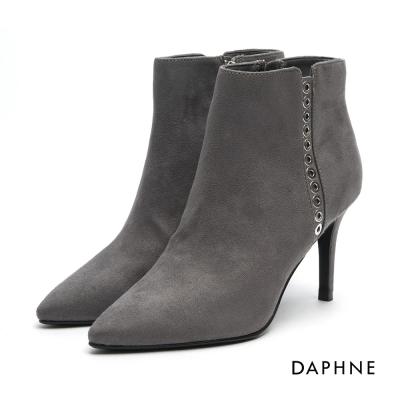 達芙妮DAPHNE 踝靴-鉚釘絨面尖頭高跟踝靴-灰