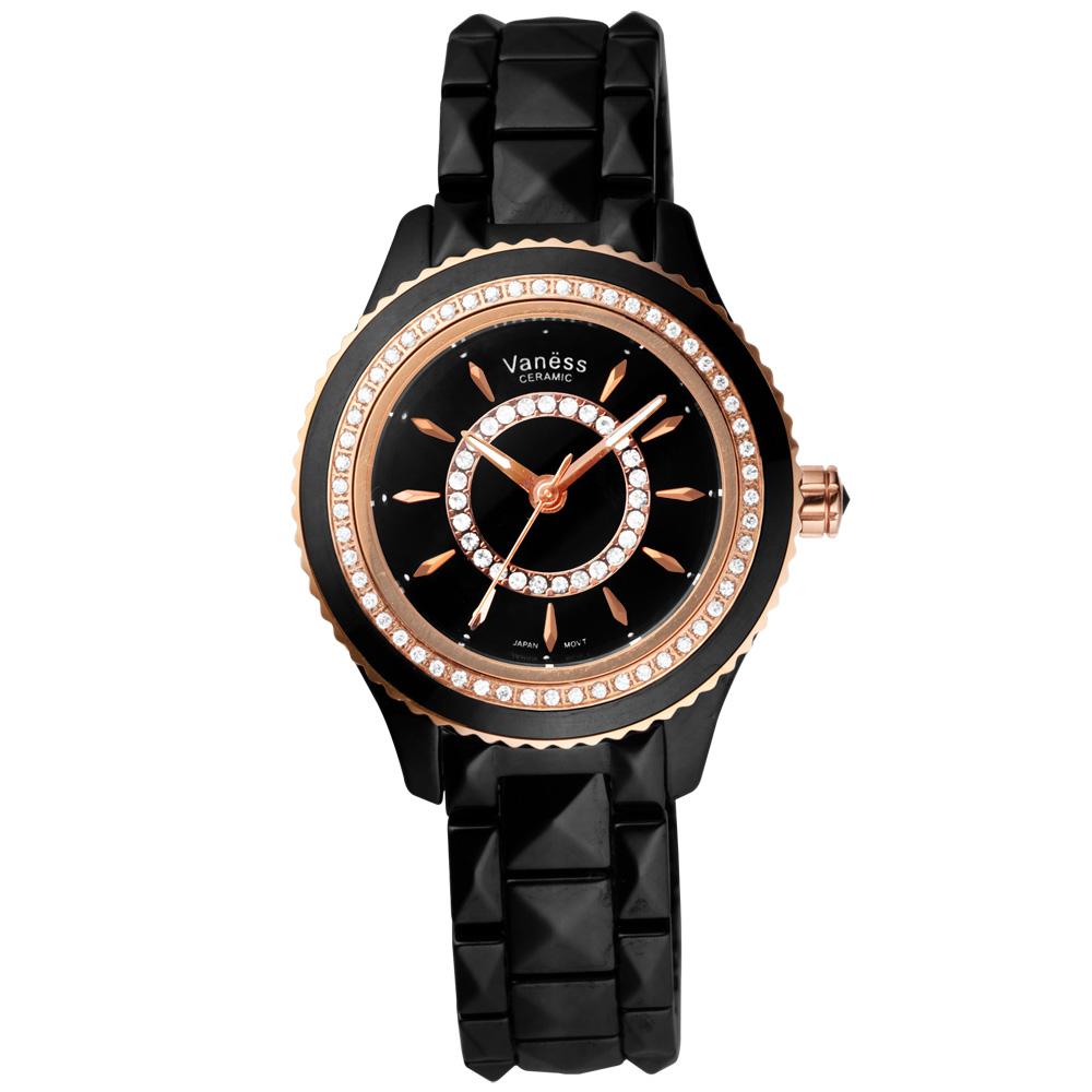 Vaness 亮眼魔法時尚晶鑽陶瓷腕錶-黑x玫瑰金/35mm