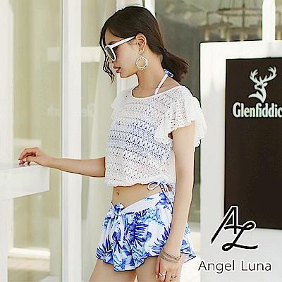 【AngelLuna】蕾絲罩衫四件式比基尼泳裝(日本直送3-10天到貨)