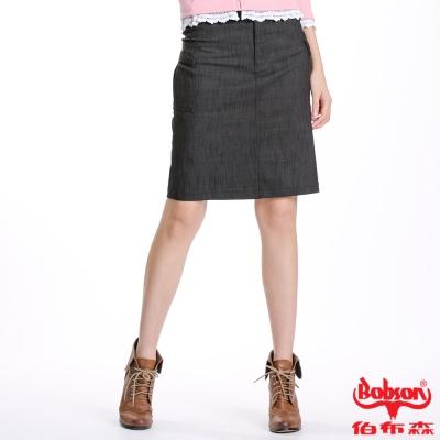 BOBSON 女款貼袋伸縮短裙(黑D063-88)