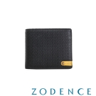 ZODENCE MAN 義大利牛皮系列低調配色LOGO三折短夾 織紋黑