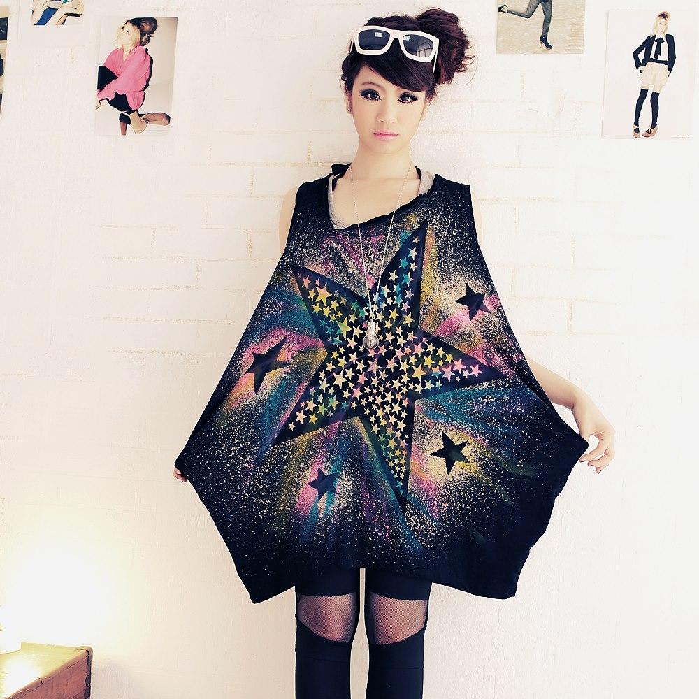 中大尺碼 大小彩色星星潑墨不規則側拉口袋背心裙-La Belleza