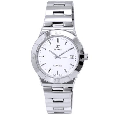 SIGMA 都會風情時尚情人女錶-白X銀/34mm