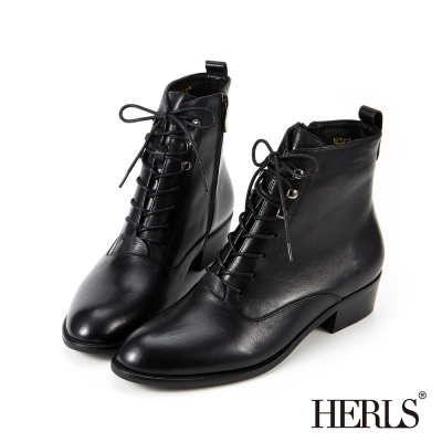 HERLS 外真皮 中性帥氣粗跟綁帶短靴-黑色