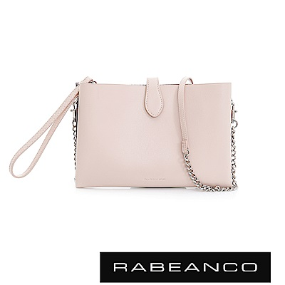 RABEANCO 迷時尚牛皮系列多夾層鏈帶手拎包 -淺粉紅