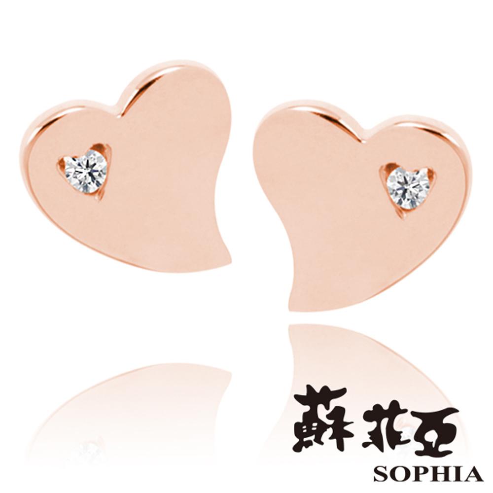 蘇菲亞SOPHIA - 費歐娜0.01克拉玫瑰金鑽石耳環