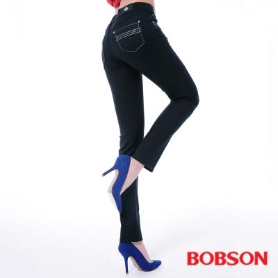 BOBSON 女款超手感彈力小直筒褲-黑色