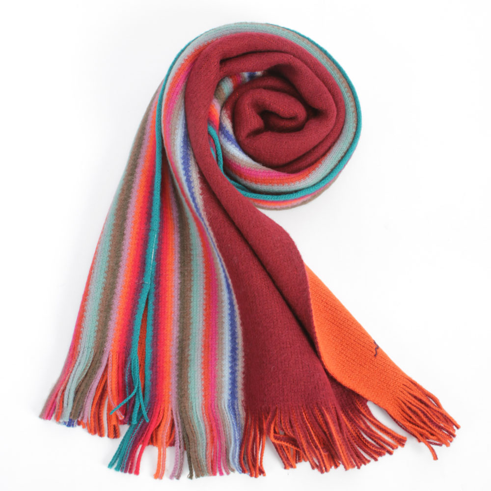 Paul Smith 彩色直條紋飾邊雙面羊毛圍巾-紅/橘