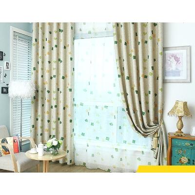 布安於室-綠格子單層雙用窗簾-寬100x高130cmx2片