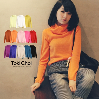 東京著衣 多彩鬆糕領素面針織毛衣(共十七色)