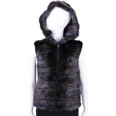 GRANDI furs 深藍/咖啡色毛草連帽背心
