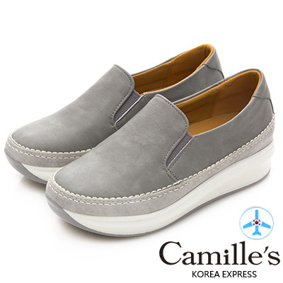 Camille's 韓國空運-正韓製-撞色拼接懶人運動休閒鞋-灰色