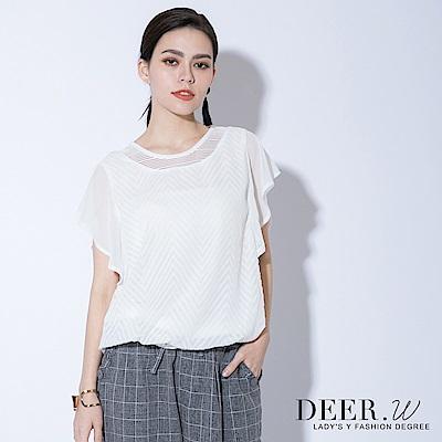 DEER.W 鋸齒織紋荷葉袖雪紡上衣(共兩色)