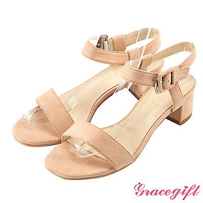 Grace gift-復古絨布小方釦一字涼鞋 粉