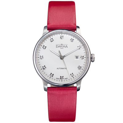 DAVOSA Glam Vanguard 先鋒系列超薄機械腕錶-白x紅色錶帶/40mm