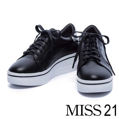 休閒鞋 MISS 21 璀璨亮片小波紋牛皮綁帶厚底休閒鞋-黑