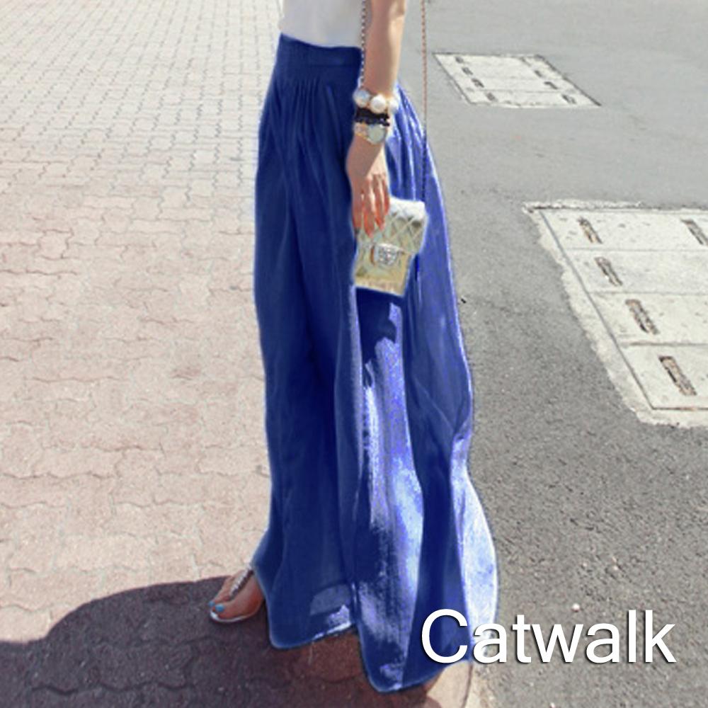 褲裙 韓版飄逸鬆緊雪紡長褲裙(藍)-Catwalk