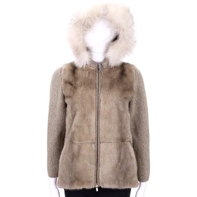 GRANDI furs 卡其色拼接毛草連帽外套