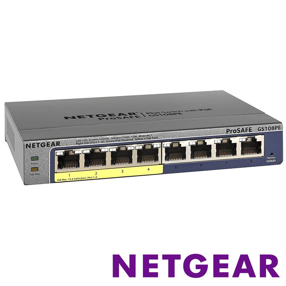 NETGEAR GS108PE 8埠 Giga簡易網管PoE交換器