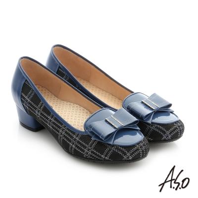 A.S.O 舒適通勤 真皮蝴蝶結飾釦奈米低跟鞋 深藍色