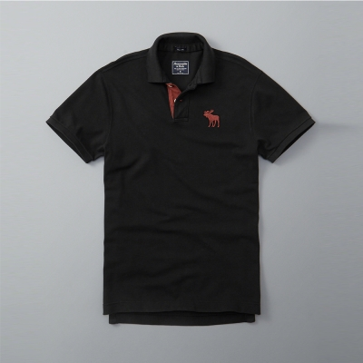A&F 經典大麋鹿短袖Polo-黑色 AF Abercrombie