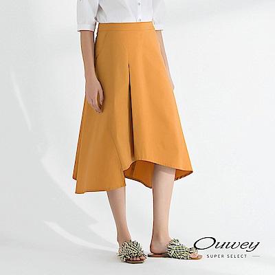 OUWEY歐薇 造型線條剪接寬版A字裙(可)