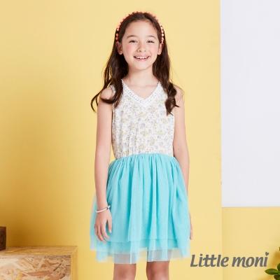 Little moni 俏皮甜心澎紗拚接洋裝  淺綠