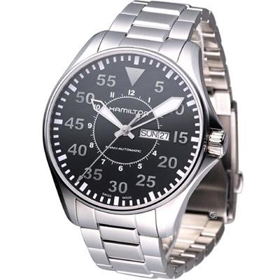 HAMILTON-Khaki-航空飛行自動機械腕錶-黑-46mm