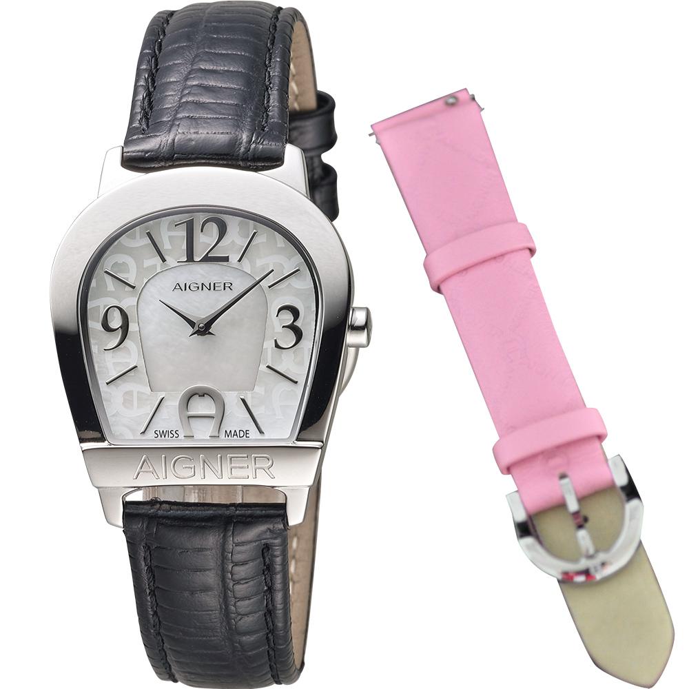 AIGNER Amalfi 愛格納馬蹄造型仕女錶-珍珠貝x黑/30mm
