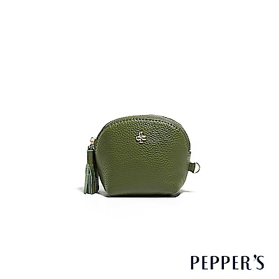 PEPPER`S Doris 牛皮貝殼零錢鑰匙包 - 橄欖綠