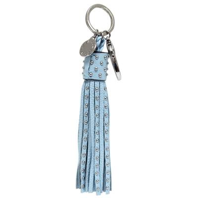 REBECCA MINKOFF 圓鉚釘牛皮流蘇鑰匙圈/掛飾-天藍色