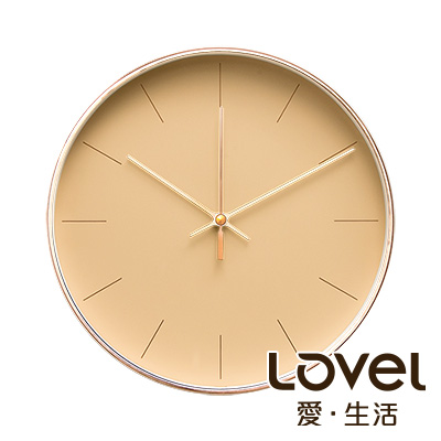 LOVEL 25cm 簡約玫瑰金框靜音時鐘-共5款