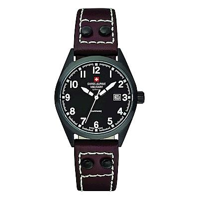 阿爾卑斯 S.A.M -獨家限定-指揮官系列-黑錶殼/黑錶盤/皮帶/30mm
