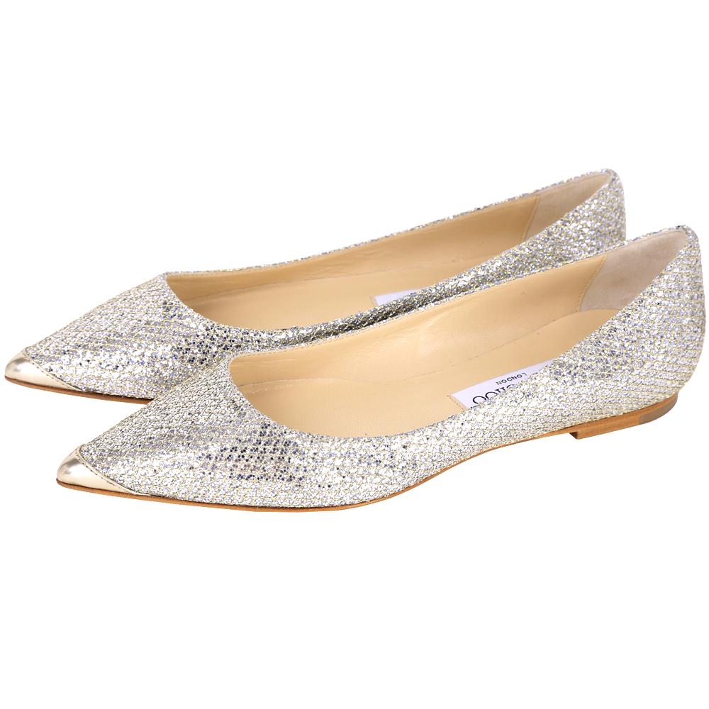 JIMMY CHOO ALINA 亮片設計尖頭平底鞋(香檳色)
