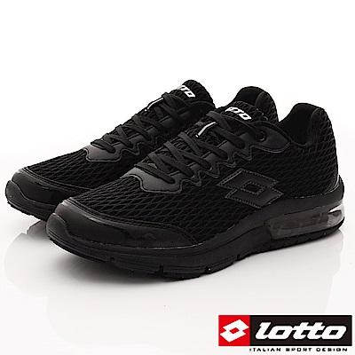 Lotto樂得-避震氣墊跑鞋-SI570黑(男段)