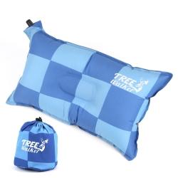 TreeWalker 舒適自動充氣枕頭-藍色方格
