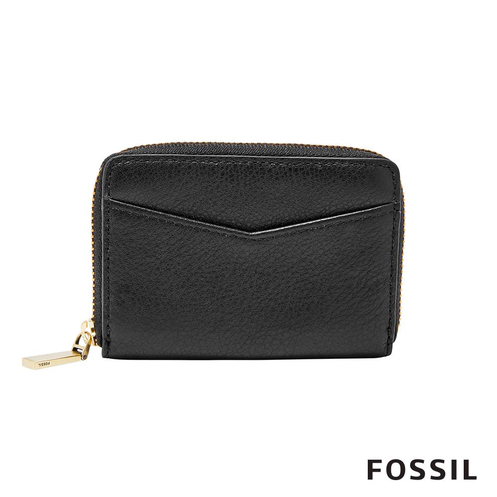 FOSSIL MINI ZIP 迷你拉鍊錢包-黑色