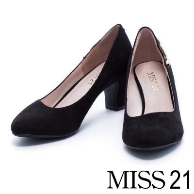 跟鞋 MISS 21 復古金屬小閃電絨布粗跟鞋-黑